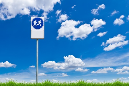 walk way sign against blue sky Stock Photo - 10750388