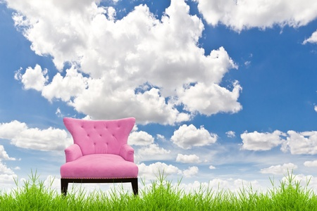 pink sofa on green grass and blue sky photo