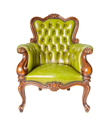 luxury green leather armchair isolated photo