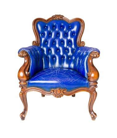 antique chair: luxury blue leather armchair isolated Stock Photo