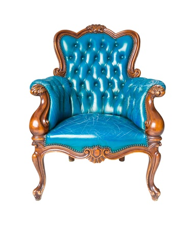 leather armchair: luxury blue leather armchair isolated Stock Photo