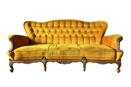 old sofa: vintage yellow luxury armchair