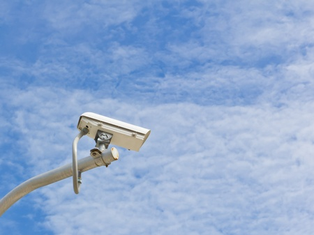 outdoor security cctv camera against blue sky Stock Photo - 10750683