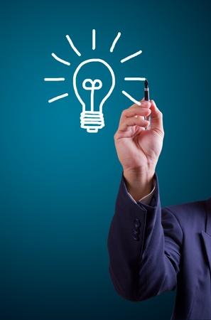 draw hands: Hand drawing light bulb