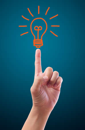 author: hand pointing to light bulb