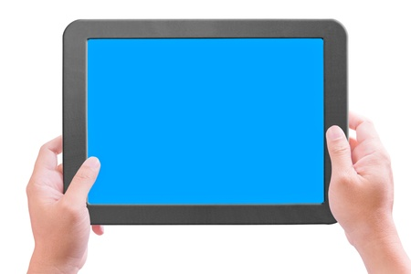 hand holding touchpad pc isolated photo