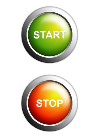 chrome button: start and stop buttons isolated on white background
