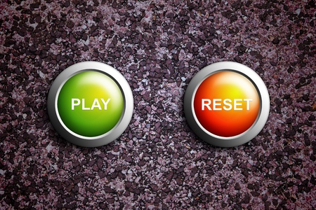 play and reset button on grunge texture photo