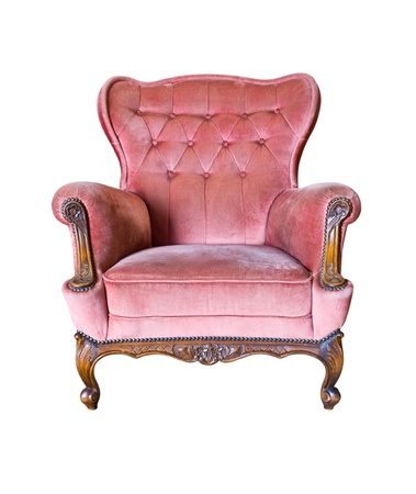 sofa furniture: vintage pink luxury armchair isolated with clipping path Stock Photo