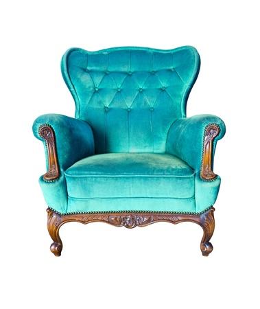 muebles antiguos: sillón de época de lujo azul aislado con trazado de recorte