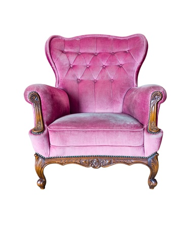 vintage pink luxury armchair isolated with clipping path Stock Photo