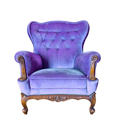 antique chair: vintage purple luxury armchair isolated with clipping path Stock Photo
