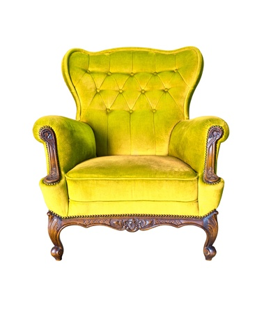 antique chair: vintage yellow luxury armchair isolated with clipping path