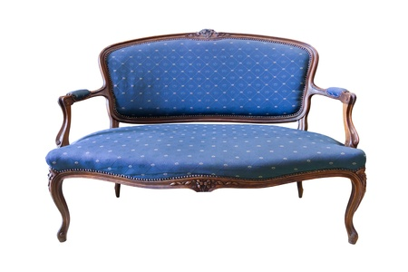 old sofa: vintage blue luxury armchair isolated with clipping path