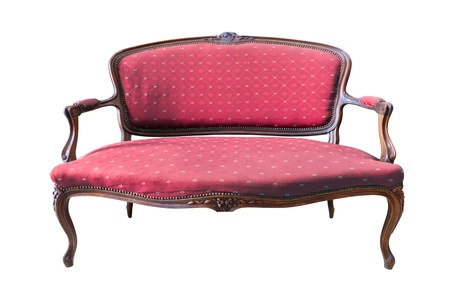 old sofa: vintage red luxury armchair isolated with clipping path