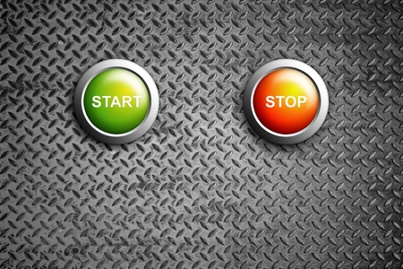 start and stop buttons on diamond steel texture Stock Photo - 11201809
