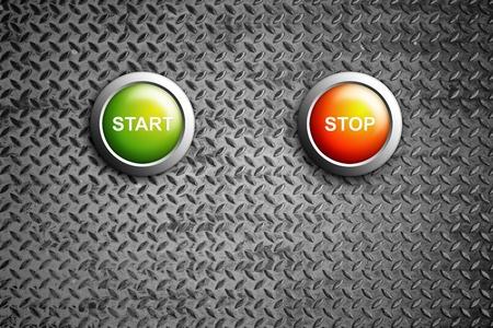 start and stop buttons on diamond steel texture Stock Photo - 11201809