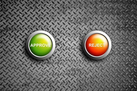 approve and reject button on diamond steel texture photo