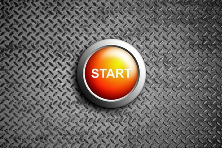 start button on diamond steel texture photo