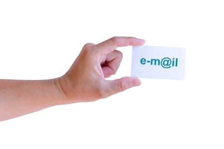 hand holding e-mail card isolated Stock Photo - 11201317