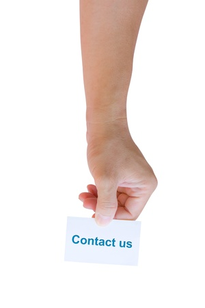 hand holding contact us card  Stock Photo - 11201325
