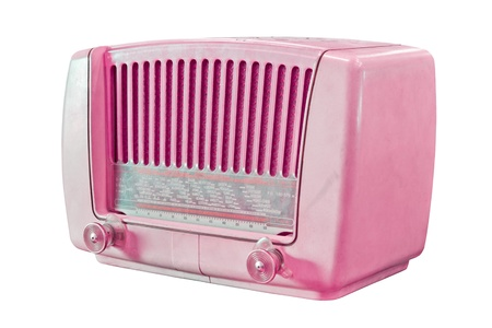 vintage radio: vintage pink radio isolated with clipping path Stock Photo