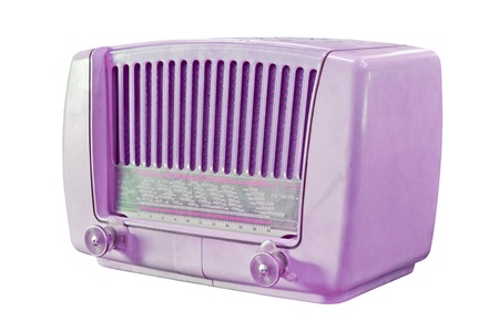 radio wave: vintage purple radio isolated with clipping path Stock Photo