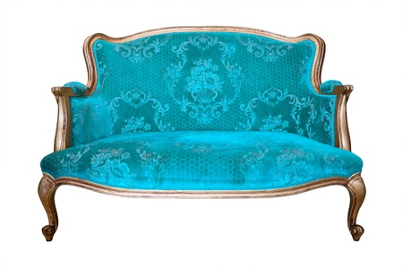 upholstery: vintage blue luxury armchair isolated with clipping path