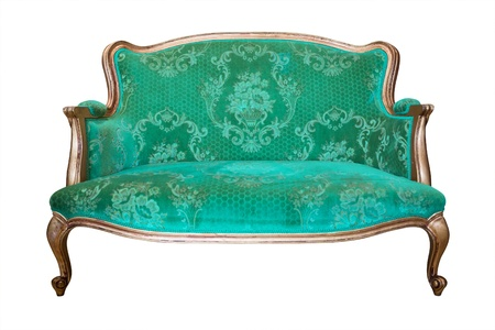 vintage green luxury armchair isolated with clipping path