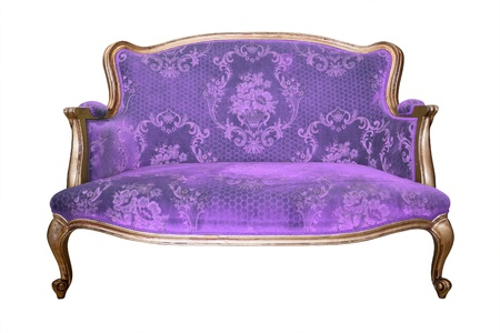 clipping  path: vintage purple luxury armchair isolated with clipping path Stock Photo