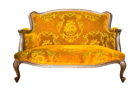 blue leather sofa: poltrona d'epoca di lusso giallo isolato con percorso di clipping Archivio Fotografico