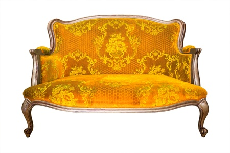 leather armchair: vintage yellow luxury armchair isolated with clipping path