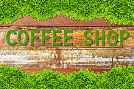 green grass coffee shop word on wood background Stock Photo - 11561901