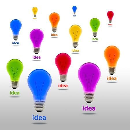 watt: colorful idea light bulb Stock Photo
