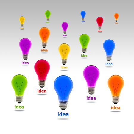 rt: colorful idea light bulb Stock Photo
