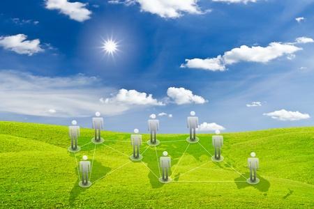 social network concept on green grass meadow