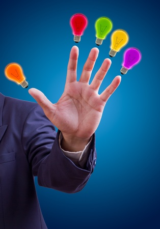 five fingers: colorful bulb on fingers for five idea