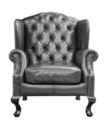 leather armchair: black luxury armchair isolated  Stock Photo