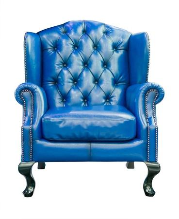 Blauwe luxe fauteuil geïsoleerd met het knippen van weg Stockfoto - 11799519