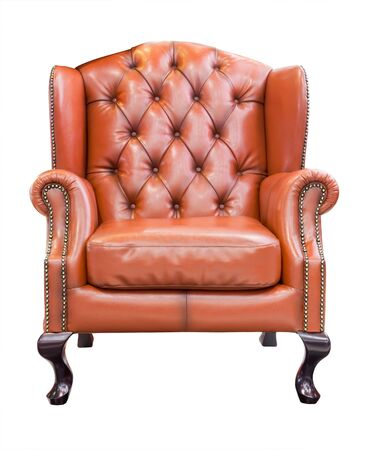 antique chair: orange luxury armchair isolated with clipping path Stock Photo