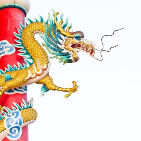 dragon statue in chinese temple Stock Photo