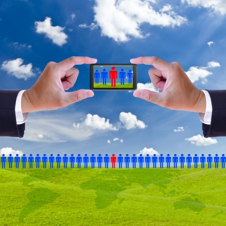 hand and mobile recruitment right man ,human resource concept