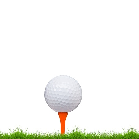 golf tee: golf ball and tee on green grass isolated on white background