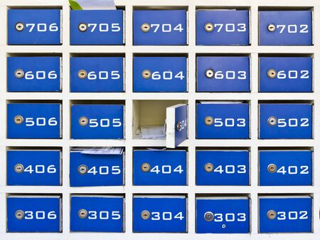 blue wood mail boxes Stock Photo - 12379554