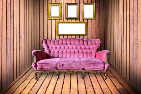 luxury armchair and photo frame in wooden room photo
