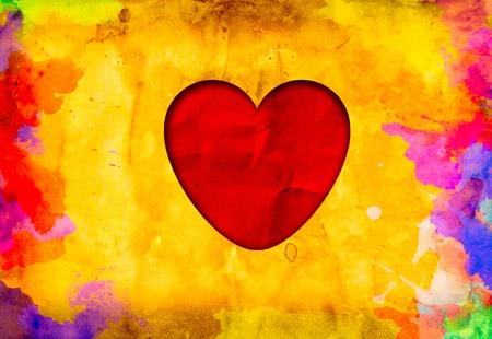 grunge love heart paper photo