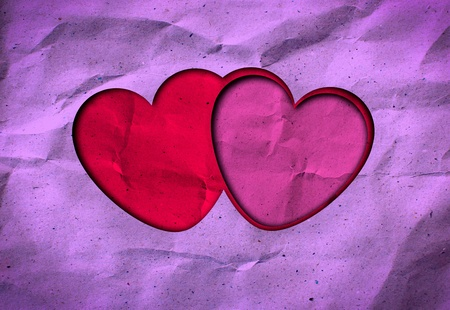 grunge love heart paper for valentine background photo