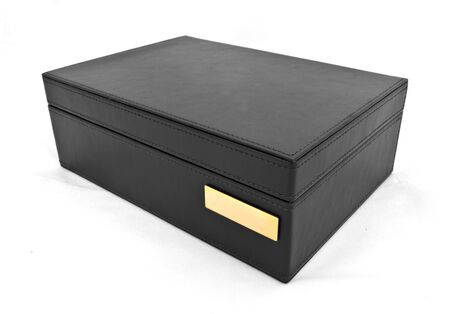 black leather box on white background Stock Photo - 12379631