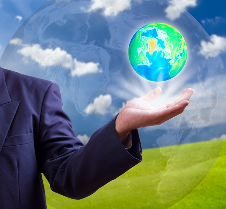 earth globe in hand Stock Photo - 12379627
