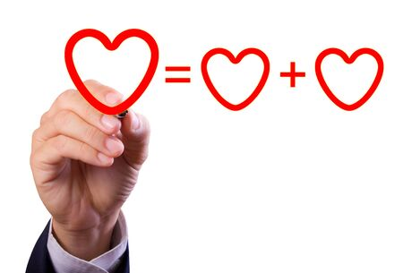 equation: hand writing love mathematical equation  of heart isolated
